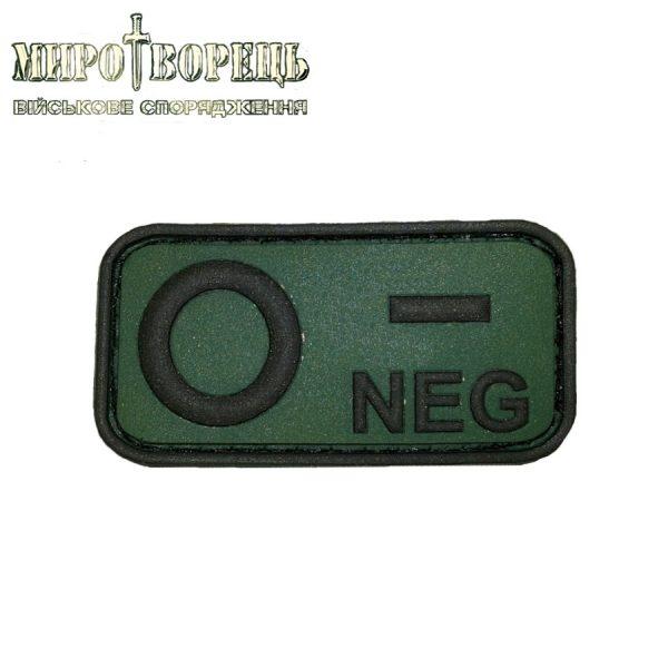 Шеврон група крові O NEG ПВХ olive/black